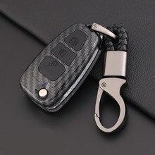 Корпус из АБС-углеродного волокна+ силиконовый 3 чехол для ключей с кнопками, защитная крышка для ключей для Ford Ranger C-Max S-Max Focus Galaxy Mondeo Transit To