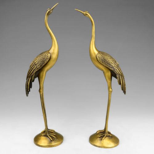 Daoist Brass Crane Pair