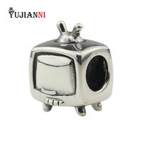 Antique 925 Sterling Silver TV Beads for DIY Jewelry Making Television Charm Fits European Original Bracelet & Necklace