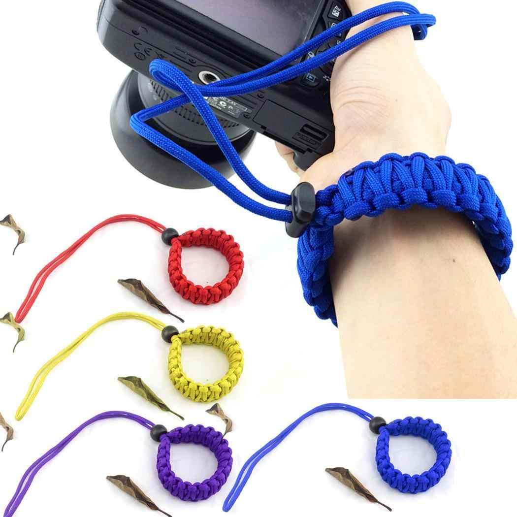 Ajustável Corda de Nylon Trançado Forte Aderência Tecer Vermelho, Amarelo, Roxo, Azul, Cabo Preto Camera Alça De Pulso