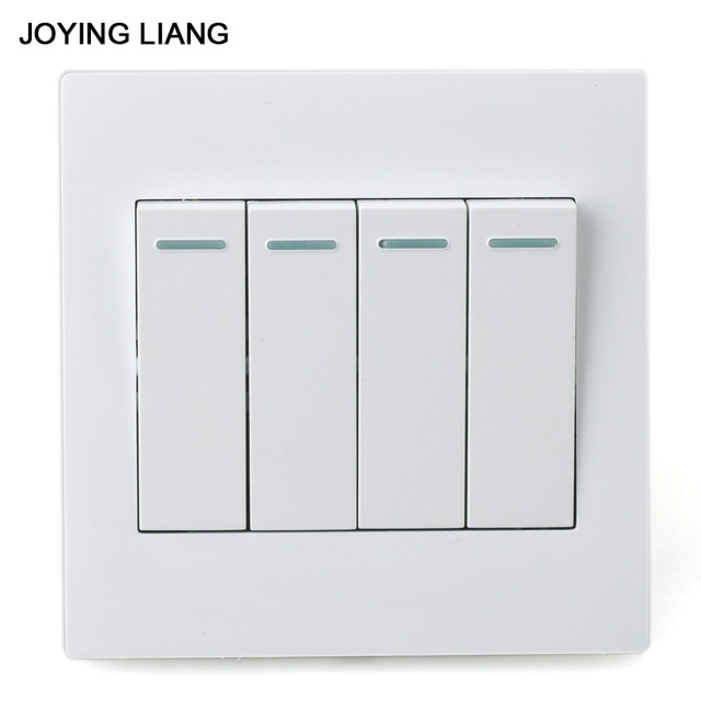 JOYING LIANG Classic 86 Type Four gang Two way Wall Switch White PC ...