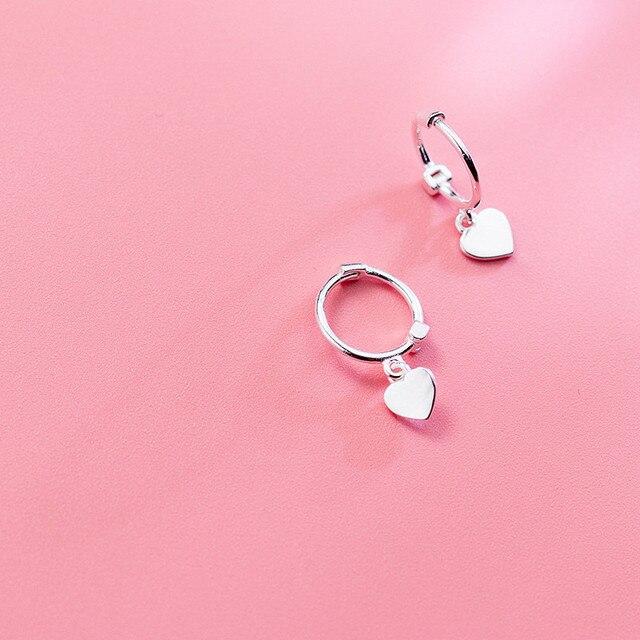925 Sterling Silver Heart Exquisite Hoop Earrings  4