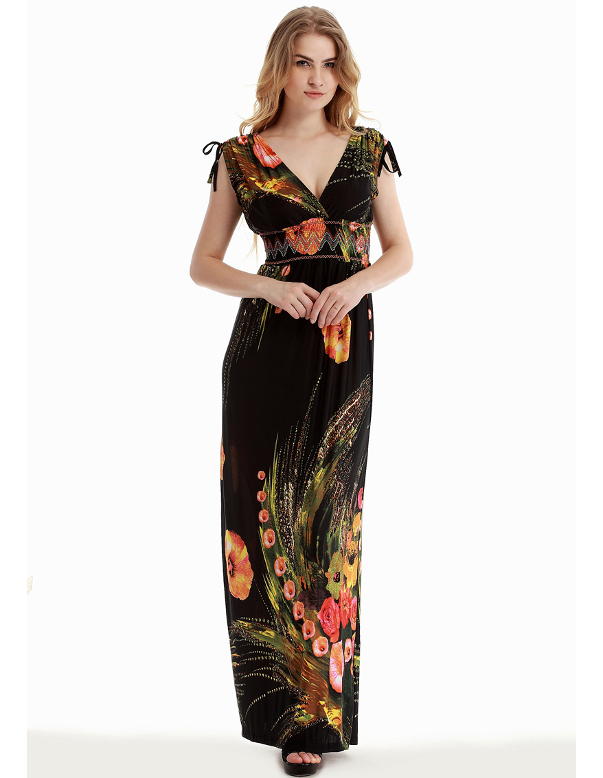 Women Summer Beach <font><b>Dress</b></font> V Neck Floral <font><b>Dress</b></font> Sleeveless <font><b>Sexy</b></font> Open Back Boho <font><b>Dress</b></font> Plus Size <font><b>6XL</b></font> Long Maxi <font><b>Dress</b></font> image