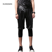 Summer Men Fashion Casual Harem Pant Male 2 Pieces Splice Calf-length Pant Streetwear Punk Hiphop Jogger Trousers Sweatpants