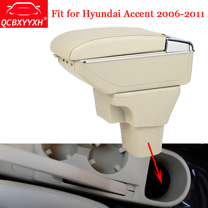 QCBXYYXH For Hyundai Accent 2006-2011 ABS&USB Car Armrest Box Center Console Storage Box Decoration Holder Case Auto Accessories hyundai h 200 box powersteering 2006 118580km 571004a850 57100 4a850