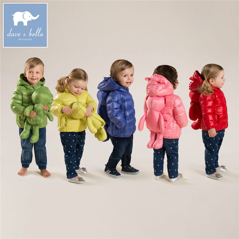 DB4669  dave bella winter infant coat baby girls boys eight color with bags coat white duck down padded coat hooded outerwear