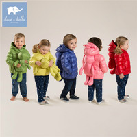 DB4669 dave bella winter infant coat baby girls boys 11 color with bags coat white duck down padded coat hooded outerwear