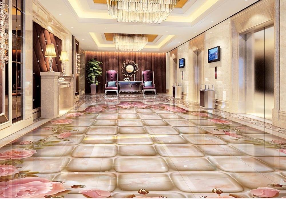 € 26.97 58% de réduction 3d plancher marbre waterjet marbre parquet  carrelage 3D papier peint pour salle de bain étanche 3d peinture au sol  papier ...