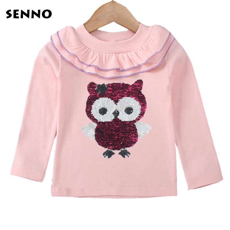 все цены на Color Changing Owl Reversible Sequin Autumn Winter Toddler Baby Cute Ruffles T Shirts Long Sleeve Tee Tops Girls Clothes Shirts