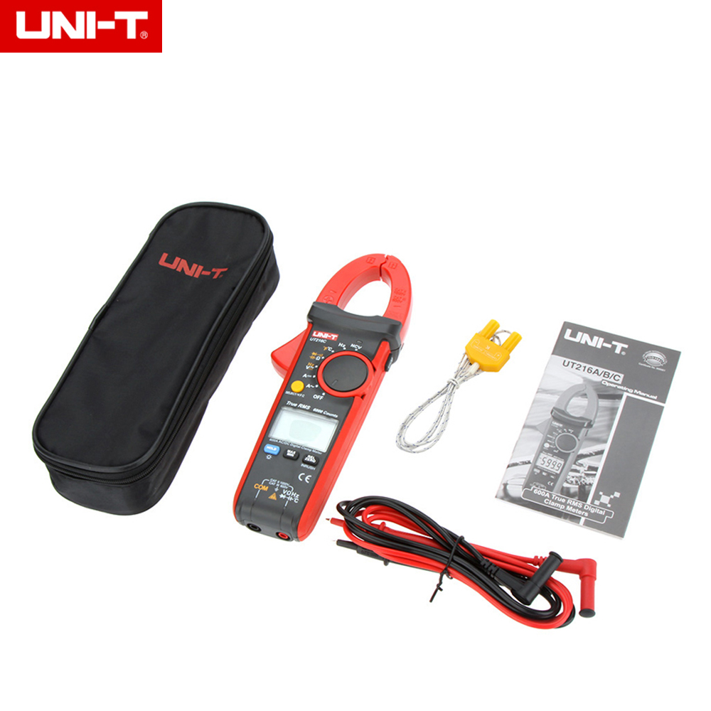 UNI-T UT216C DC/AC 600A True RMS Digital Clamp Meters Auto Range & Voltage Frequency Capacitance Temperature NCV Test uni t ut202a 400 600a ditgital current clamp meters diagnostic tool capacitance tester ncv test dc ac multimeter