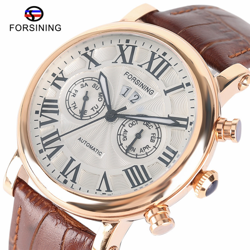 Top Brand Luxury FORSINING Automatic Mechanical Watch Men Dress Day Display Waterproof Analog Watches Sport Mens Self-Wind Clock forsining multifunction tourbillon date day display rose golden watch men luxury brand automatic watch fashion men sport watches