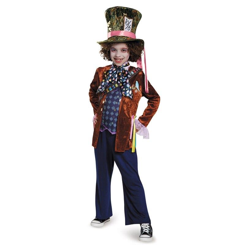 Costume d'halloween de luxe enfant fou de fantaisie du film à travers le verre à la recherche enfants Alice au pays des merveilles fête déguisements