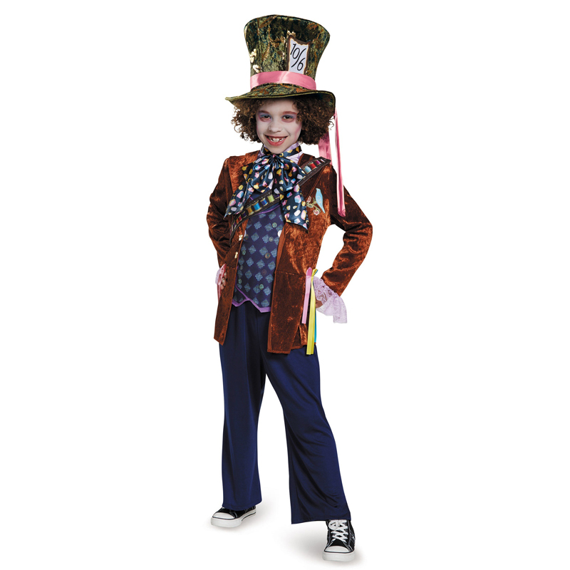 Deluxe Child Whimsy Mad Hatter Halloween Costume From Movie Through The Looking Glass Kids Alice In Wonderland Party Fancy Dress