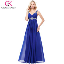 b19865bcc71 Grace Karin Long Blue Bridesmaid Dresses 2018 Formal Dress for Wedding  Party Elegant Floor Length Beads Chiffon Bridesmaid Dress