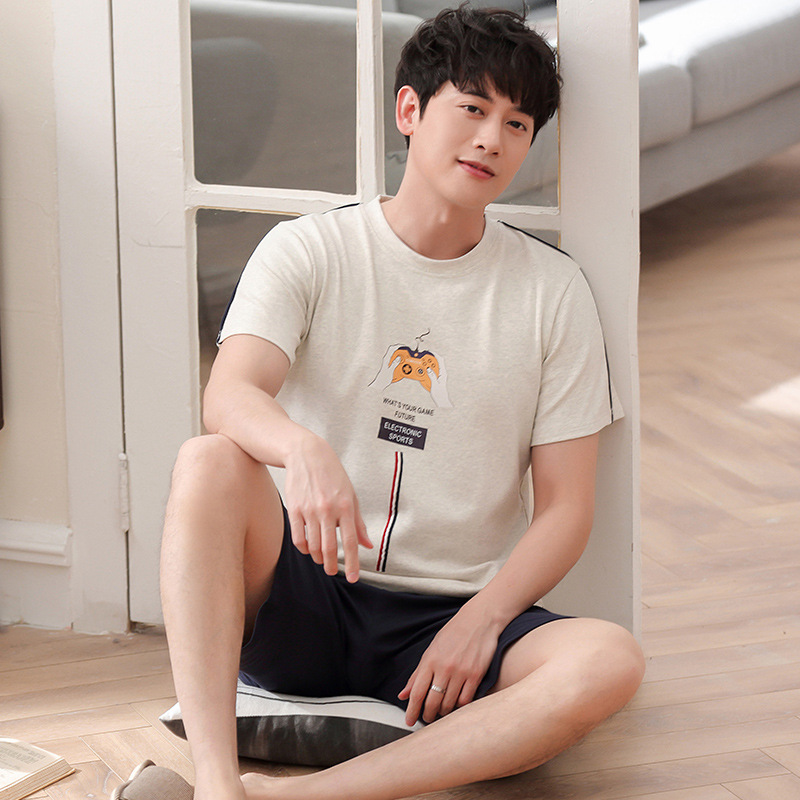 Men new summer cotton pajamas short sleeve shorts home wear thin comfortable and breathable two piece pajama sets mens pajamas(China)