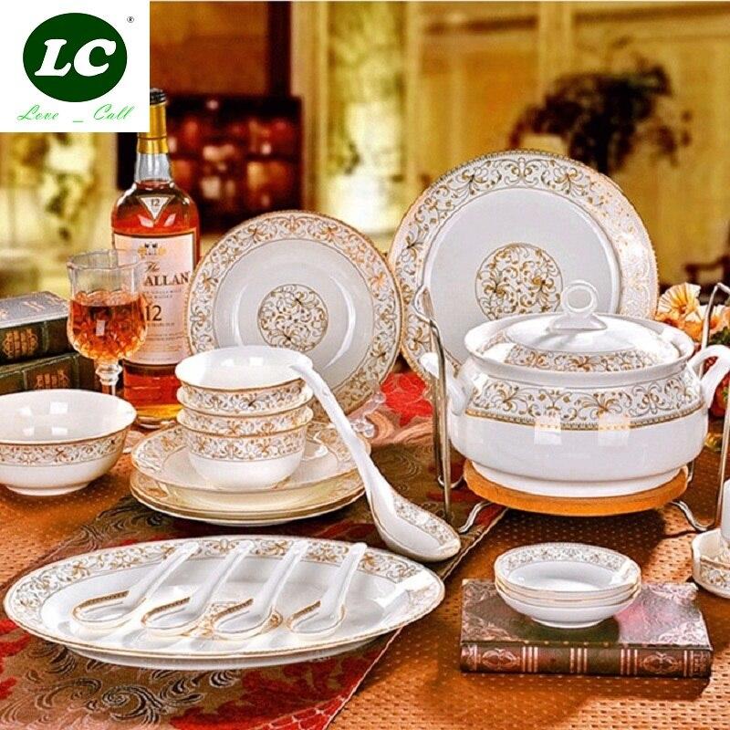 Plat et plaques ceram ensemble de vaisselle 46 pcs combinaison bols en céramique vaisselle os chine santé