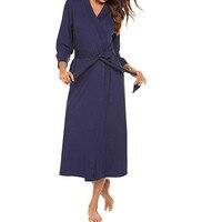 Women Solid Robes Cotton Lightweight Long Robe Maternity Dresses Soft Sleepwear V-Neck Loungewear Nursing Breastfeeding Dress