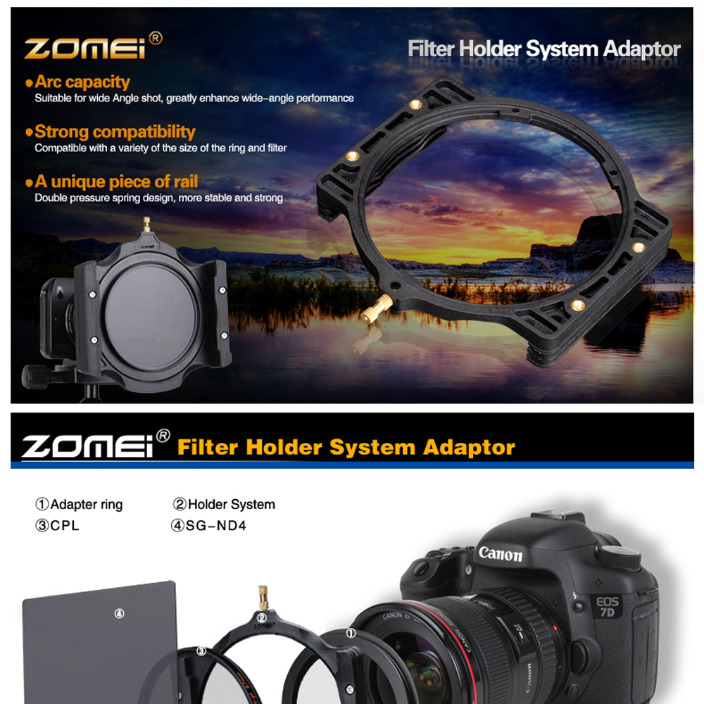 Zomei 100150mm Neutral Density Graduated Square Full Nd Filter Lee Filters 100x150 06 Soft Holder Set 67 72 77 82 86 95mm Adapter Ring For Cokin Z Series In Camera From