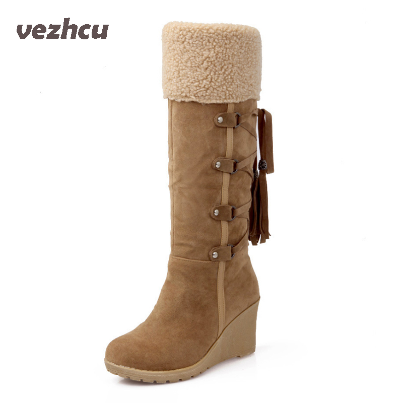 VZEHCU Casual Women Flats Shoes Comfortable Slip On Winter Boots Fashion Knot Women Boots Warm Women  Platform Shoes p8d92 7ipupas hot selling fashion women shoes women casual shoes comfortable damping eva soles flat platform shoe for all season flats