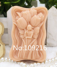 1pcs Tulips Girl (zx268) Food Grade Silicone Handmade Soap Mold Crafts DIY Mould