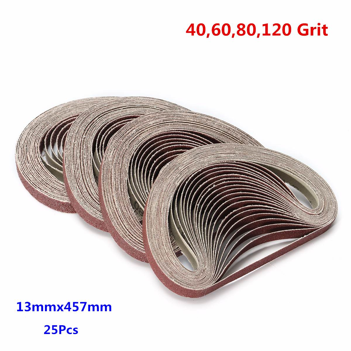 25Pcs Sanding Belts 13x457mm 40/60/80/120 Grit  For Power File Powerfile Sander For Grinding Polishing Sander Tools