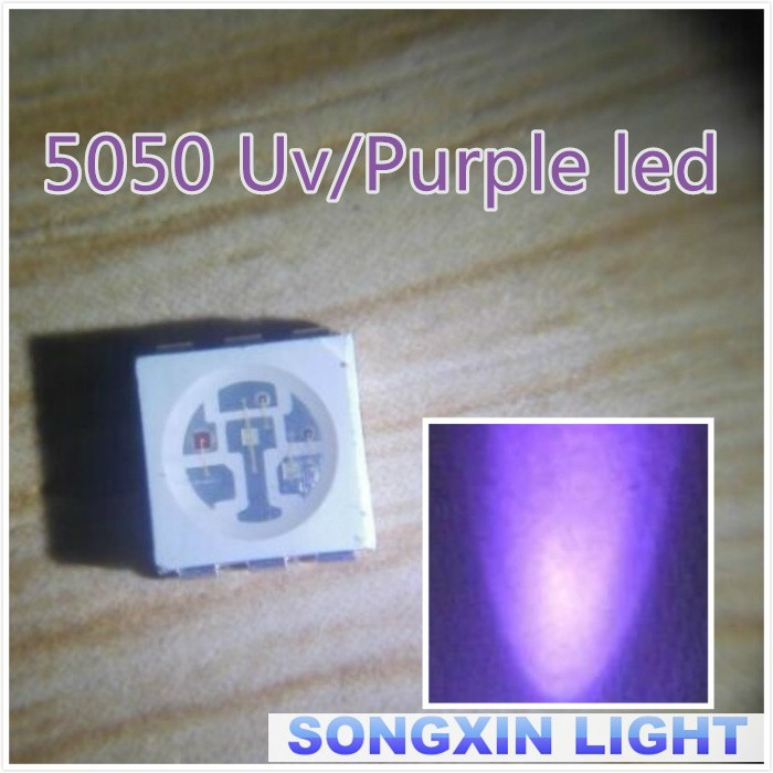 400nm Led Ultra Violet Light Emitting Diode Lamp Moderate Price Diodes 100pcs Uv Led Smd 5050 Chip Purple Surface Mount Bead 60ma Ultraviolet 395nm
