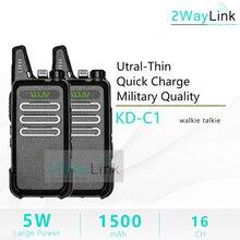 Walkie talkie wln mini 5w, 2 peças, wln KD C1, dois canais uhf, rádio rt22 ZT X6, handy mini 5w ham radio KD C2 versão atualizada barata quente