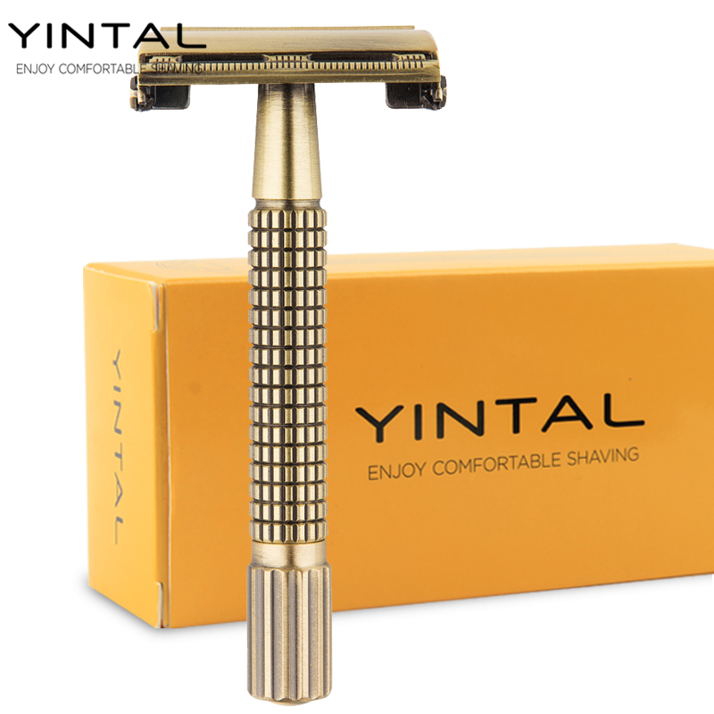 YINTAL 1 Holder +10 Blades Brass Men Safety Razor Classic Butterfly Mechanism Double Edges Razors Plating Grid Handle Shaver