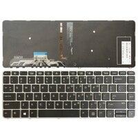 Klawiatura laptopa US dla HP EliteBook Folio 1040 G3 angielska klawiatura srebrna ramka z podświetleniem w Zamienne klawiatury od Komputer i biuro na