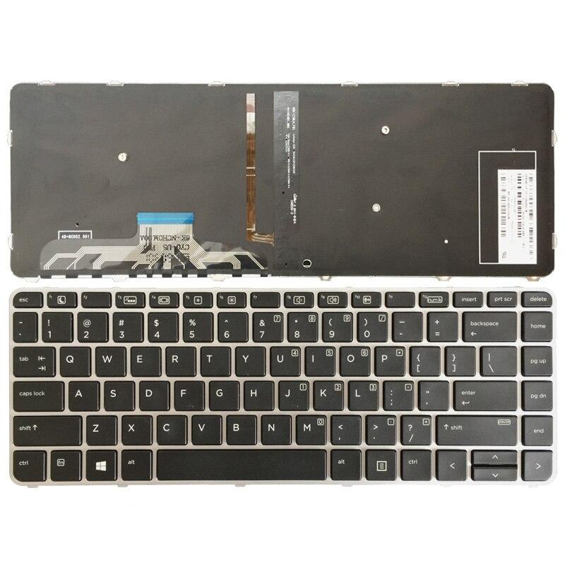 Keyboard for HP Elitebook Folio 1040 G1//1040 G2 Laptop Silver Frame Backlight