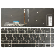 US клавиатура для ноутбука hp для EliteBook Фолио 1040 G3 английскую клавиатуру: Серебристая оправа с клавиатурой с подсветкой