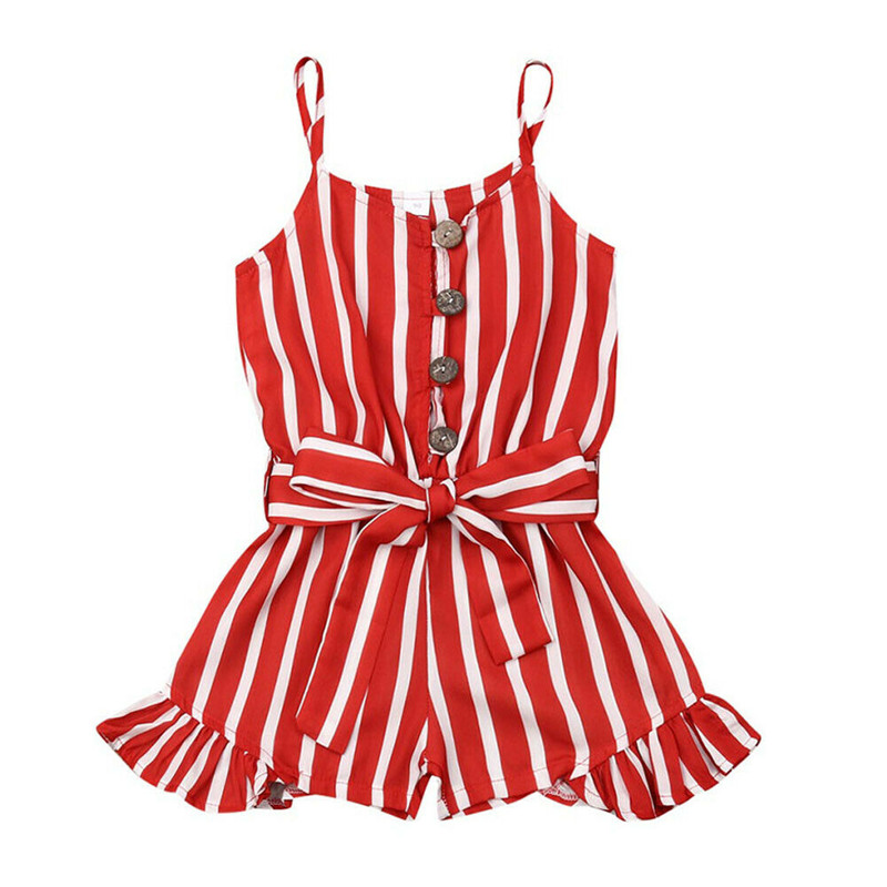 Kids Baby Girls Clothes arrival Summer Striped Buttons Strap   Romper   3-8Y Sleeveless Sling Chiffon Playsuits Girl Belt Sunsuit
