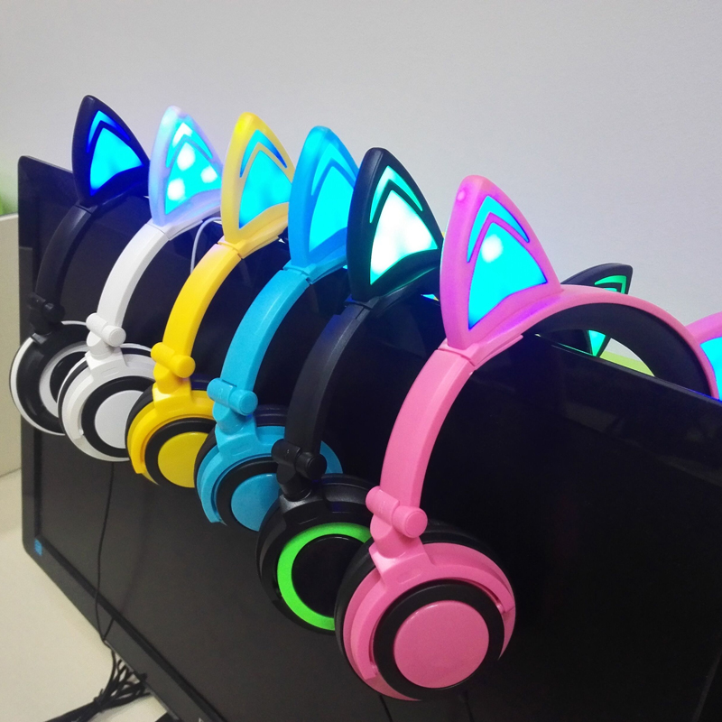 YMDX Flashing Glowing Cat Ear Earphone Foldable Headphones Gaming Headset with LED Light For Laptop Mobile Phone children gift teamyo glowing cat ear headphones gaming headset auriculares music earphone with led light for iphone xiaomi mobile phone pc mp3