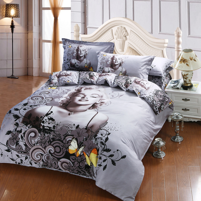 100% Cotton 3D Sexy Marilyn Monroe Fabric Grey Bedding Set Comforter Cover  Pillowcase Bed Sheet