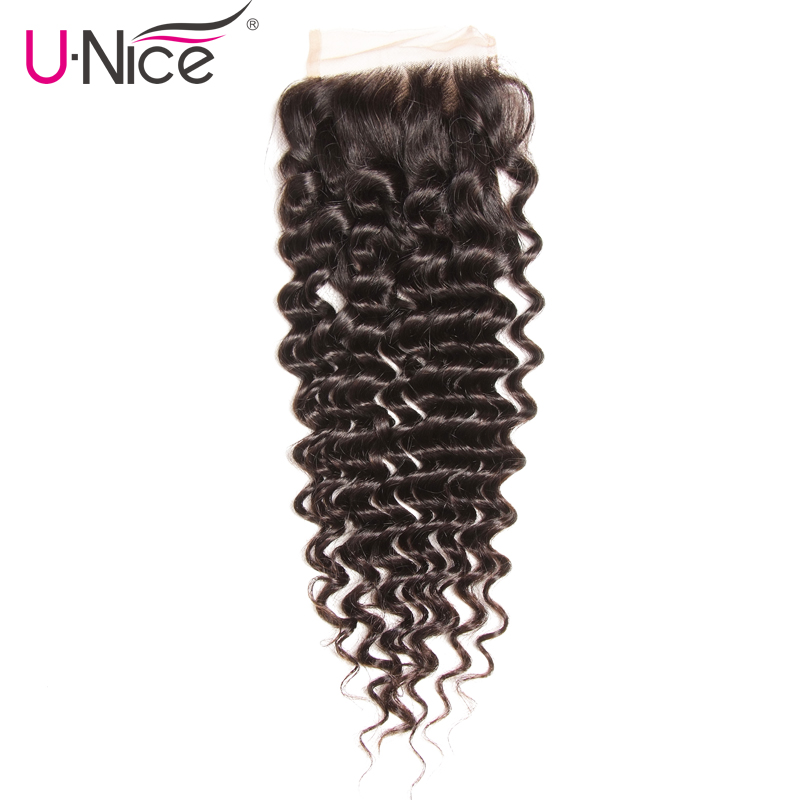 Unice Lace Closure Human-Hair Deep-Wave Brazilian Swiss 10-20inch 4x4 Free-Part