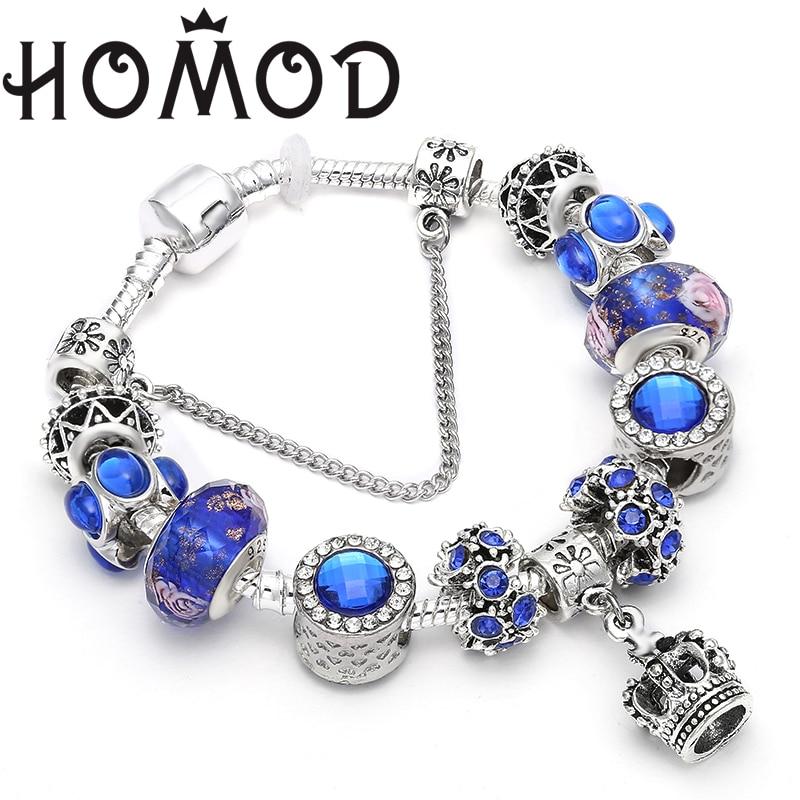 HOMOD Vintage Silver Plated Blue Crystal Charm Crown Pendant Pandora Bracelet Original DIY Blue Murano Bracelet Women Jewelry