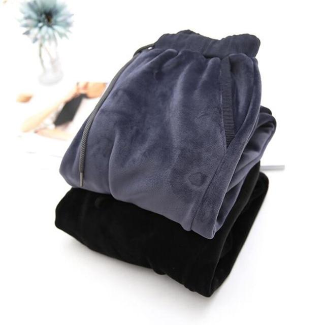 Rihschpiece Winter Plus Size 3XL Velvet Pants Women Elastic High Waist Harem Pant Warm Loose Fleece Sweatpants Trousers RZF1410 1