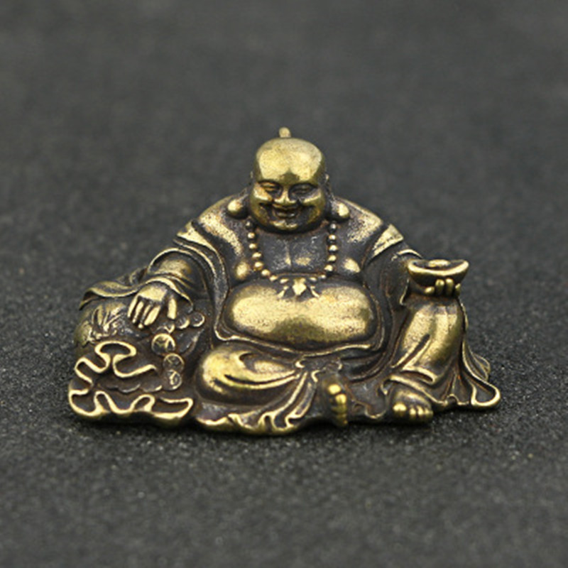 1 Pc Chinese Kleine Standbeeld Religie Boeddhisme Maitreya Boeddha Bronzen Antieke Desktop Koperen Ornamenten Decoratie Craft Gift Ylm9771 Tegen Elke Prijs