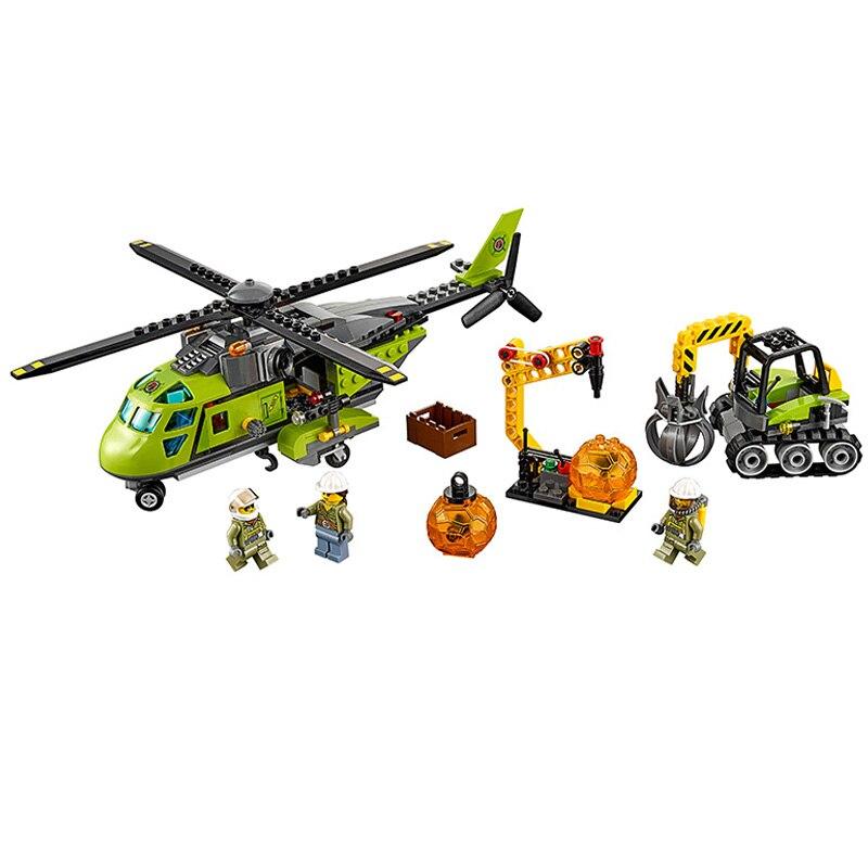 gifts Bela 10641 City Volcano Supply Helicopter Geological Prospect Building Blocks Bricks Action Figures Compatible Legoe Toys