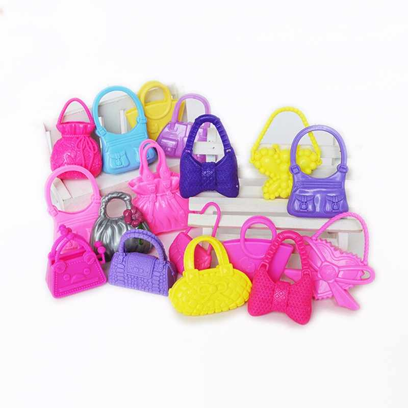 10Pcs/lot Mix Styles Doll Bags Accessories Toy Colorized Fashion Morden Bags Doll Birthday Xmas Gift Random Color