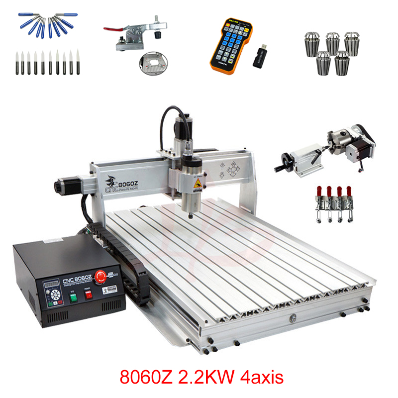 LY 8060Z-USB 4 axis 2.2KW with mach3 remote control mini CNC milling machine free tax to RU