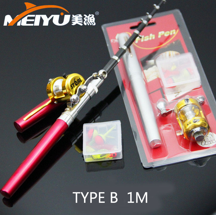 Portable design FRP full set type B 1 meters pen telescopic fishing <font><b>rod</b></font> mini fishing <font><b>rods</b></font> practical Scalable have a fishing reel