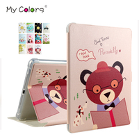For IPad 5 6 Air 2 PU Leather Case Cover 9 7 Colorful Print Protective Stand