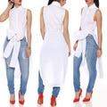 2016 Women white black long vest Summer bow tuxedo sleeveless shirt Lapel shirt skirt color vest