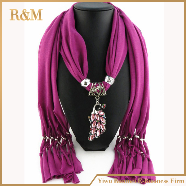 2016 Winter Elegant cotton peacock Pendant Jewelry Scarf Necklace Tassels Cotton Scarf Women Shawl Scarves 10 Colors