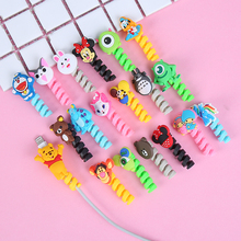 100pcs/lot Spiral Cord Holder Cable Winder Cartoon USB Earphone Protector Charging line saver For iphone cable protection