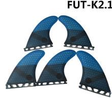 زعنفة تصفح فيوتشر K2.1 ، زعنفة لركوب الأمواج ، لون أزرق من الألياف الزجاجية ، زعنفة ثلاثية العجلات ، مجموعة زعنفة 5 زعنفة