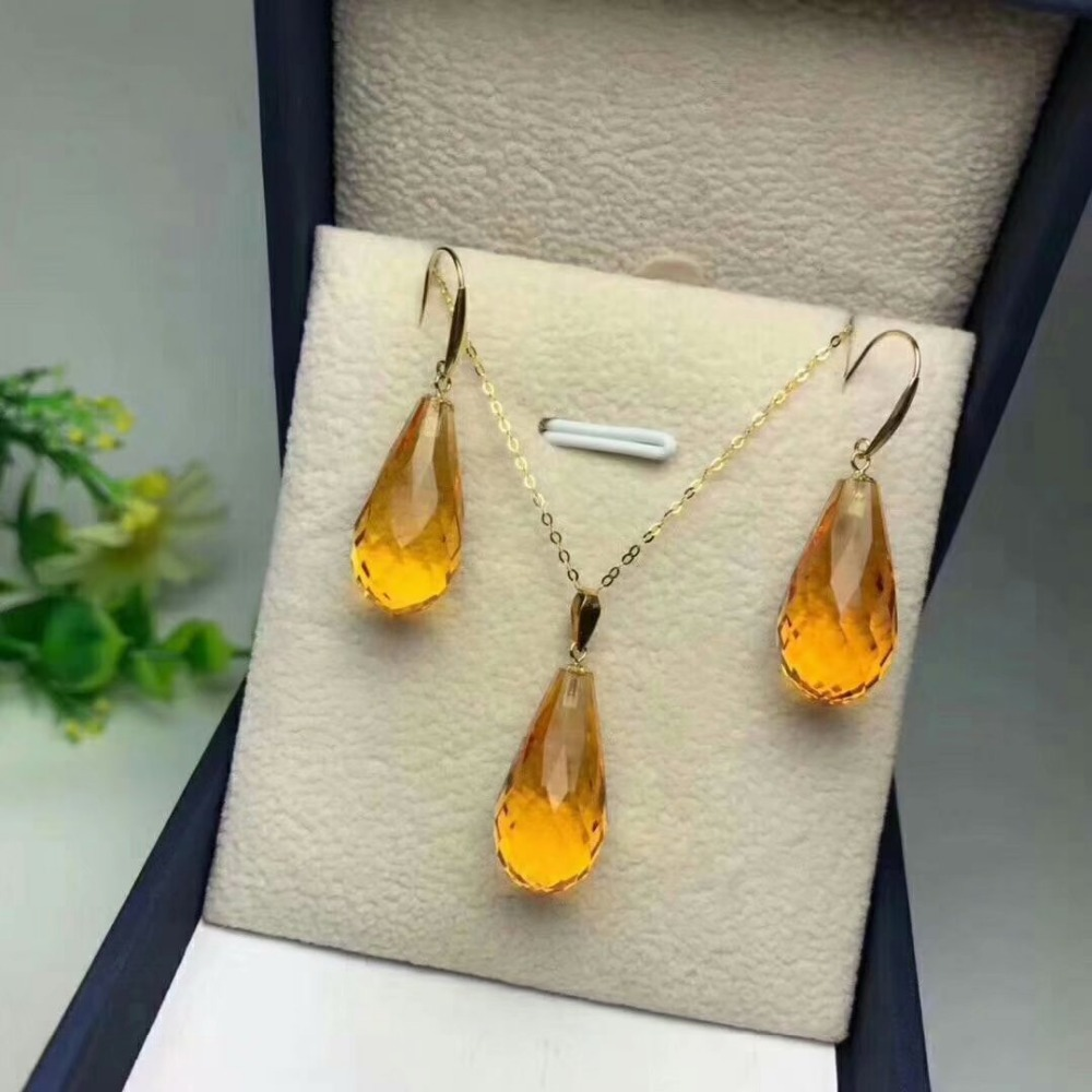 shilovem 18k yellow gold citrine pendants earrings fine Jewelry women party new classic plant gift new
