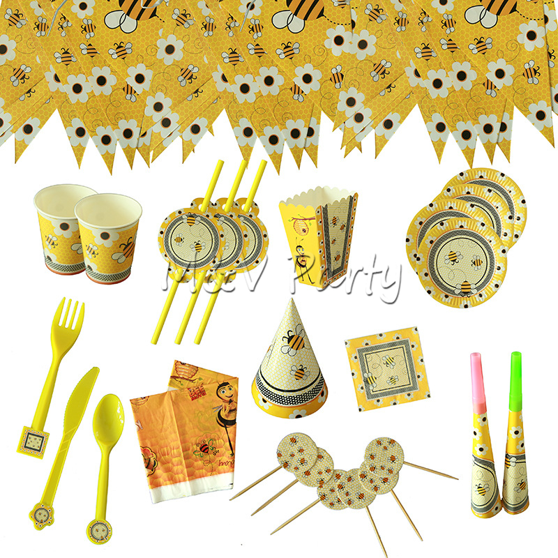 Cartoon <font><b>Bee</b></font> Theme <font><b>Party</b></font> Paper Cup Plates Flag Straw Baby Shower Cartoon <font><b>Bee</b></font> Theme Kid Birthday <font><b>Party</b></font> Decoration <font><b>Supplies</b></font> image