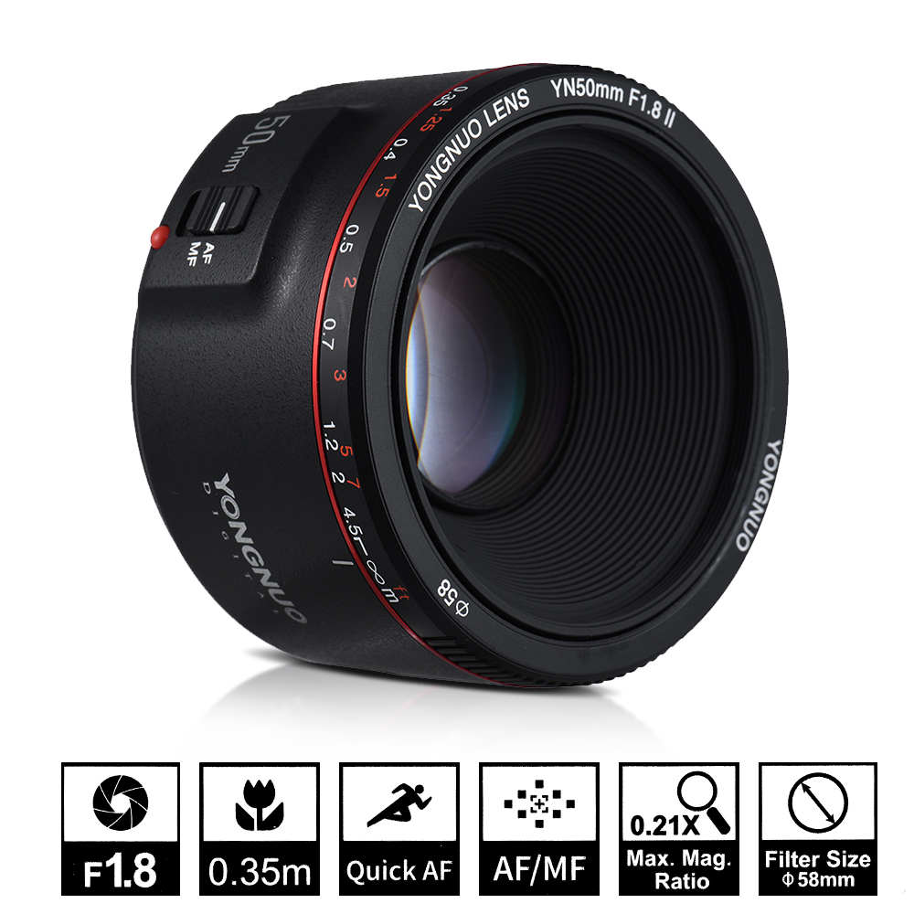 цена на YONGNUO YN50mm F1.8 II Large Aperture Auto Focus Lens for Canon Bokeh Effect Camera Lens for Canon EOS 80D 70D 5D4 5D3 800D DSLR